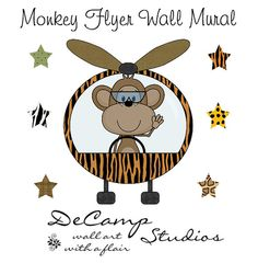 Monkey Airplane Mural Wall Decal for baby boy aviator nursery or children's room decor #decampstudios