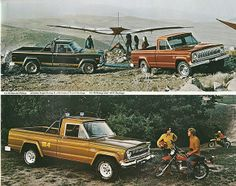 Three 1978 Jeep Townside Pickup Honcho, Golden Eagle, and Package by geepstir Jeep Wagoneer, Jeep Willys, Oldsmobile Cutlass, Oldsmobile Delta 88, Old Pickup, Jeep Pickup, Pickup Trucks, Mercedes Sl500, Chrysler Voyager