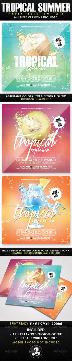 Tropical Summer Party Flyer Template PSD | Buy and Download: http://graphicriver.net/item/tropical-summer-party-flyer-template-2/8436955?WT.ac=category_thumb&WT.z_author=CreativB&ref=ksioks