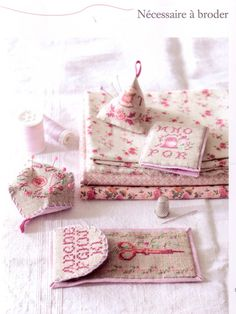 Pretty cross stitched sewing accessories