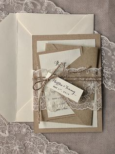 Rustic  Wedding Invitation, Buralp Wedding Invitations,  Rustic Wedding  Invitations, Lace Wedding Invitation