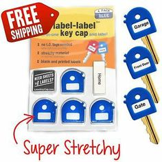 Super stretchy, soft grip label label key cap. fits most keys! 4 packs in blue now available!