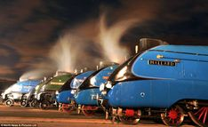 What a show: Under the cover of darkness six of the rarest locomotives are edged into place on the tracks outside National Railway Museum in...