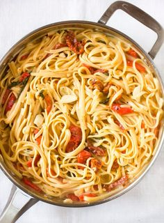 One-Pot Pasta Recipe: Linguine with Roasted Red Peppers, Tomatoes & Brie Recipes from The Kitchn