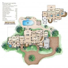 We offer a variety of elite house plans! This luxury 2 story Tuscan house plan features 5 bedrooms, baths and a large 3 car garage. Tuscan House Plans, Small Cottage House Plans, Small Cottage Homes, Mediterranean House Plans, House Plans One Story, Dream House Plans, House Floor Plans, Mansion Floor Plans, Tuscan Design