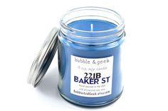 221B Baker Street Scented Soy Candle 8 oz. jar by bubbleandgeek