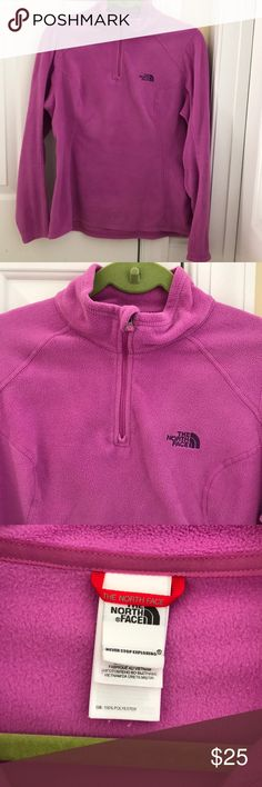 Ladies The North Face 3/4 zip fleece size M Ladies 3/4 zip fleece pullover by The North Face. Size M.  Pre-owned but in great condition. Did not see any spots. Just normal wash wear. Always washed/dried on delicate, and air dried. The North Face Tops Sweatshirts & Hoodies