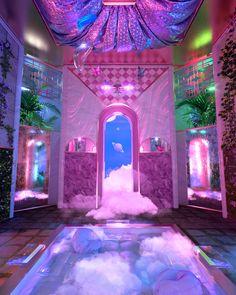 Aesthetic Space, Neon Aesthetic, Retro Interior Design, Montage Photo, Fantasy Landscape, Retro Futurism, Dream Rooms, Looks Cool, Aesthetic Pictures