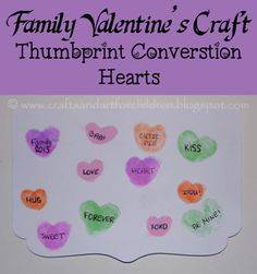 Thumbprint Conversation Hearts {Family Valentine's Day Craft} - Pinned by @PediaStaff – Please Visit  ht.ly/63sNt for all our pediatric therapy pins