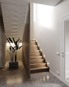 Zdjęcia ДИЗАЙН СТУДИЯ А Б Staircase Design Modern, Home Stairs Design, Modern Stairs, Home Interior Design, Modern Design, Stair Photo Walls, Style At Home, Stairway Lighting, Flur Design