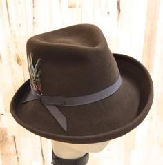 febb4d8aeded2 Items similar to medium brown womens fedora in lite weight brown rabbit fur  felt on Etsy