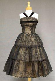 Extraordinary Flocked Nylon 1950's Cocktail Dress w/ Tiered Skirt