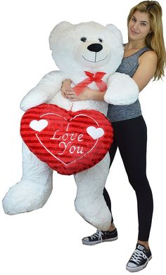 Life Size White Teddy Bear with 'I Love You' Red Heart Over 52""