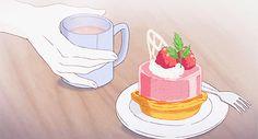 throwing cake gif   mine anime queue mygif cake anime foods antique bakery !ab