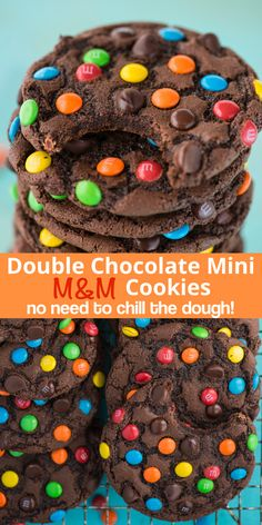 Double Chocolate Mini M&M Cookies - These double chocolate chip M&M cookies are easy to make, only 20 minutes from start to finish. Plus no chilling of the dough! These m&m cookies are chocolate-y, chewy & soft and loaded with m&ms and chocolate chips. M M Cookies, Cake Mix Cookies, Keto Cookies, Cream Cookies, Cookies Soft, Sandwich Cookies, Funfetti Cookies, Almond Cookies, Brownie Cookies