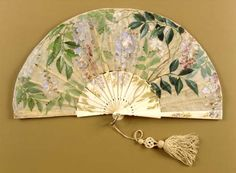 Fan, c. 1875-80.  Beauty in practical objects. And wisteria for tone.
