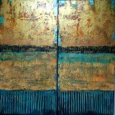 Golden Doors, 48 x 48, plaster/paint/glaze on panel by Debra Corbett at a Scottsdale art gallery