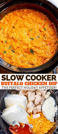 Slow Cooker Buffalo Chicken Dip - Dinner, then Dessert - So many recipes. - Slow Cooker Buffalo Chicken Dip make with chicken, cream cheese, ranch, and buffalo sauce is topped - Slow Cooker Dips, Slow Cooker Recipes, Crockpot Recipes, Cooking Recipes, Crockpot Potluck, Slow Cooker Appetizers, Vegetarian Recipes, Crockpot Dishes, Healthy Recipes