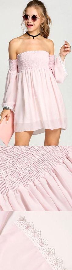 Product Description: New Women Casual Off Shoulder Slash Neck Flare Sleeve Chiffon Mini Dress Material: Chiffon, Color: Pink, Collar: Slash Neck, Sleeve: Off Shoulder, Sleeve Type: Flare Sleeve, Style