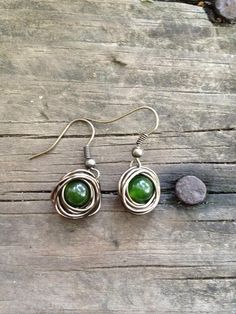 wire wrapped jewelry patterns | Wire Wrapped Bird Nest Hunter Green