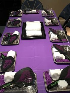 Party table at a Disney Descendants spa birthday party! See more party planning ideas at CatchMyParty.com!