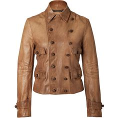 RALPH LAUREN BLUE LABEL Leather Redrock Jacket in Tan ($1,240) found on Polyvore