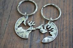 KEY-CHAIN SET Buck and Doe Interlocking Set his doe her buck country couples sets