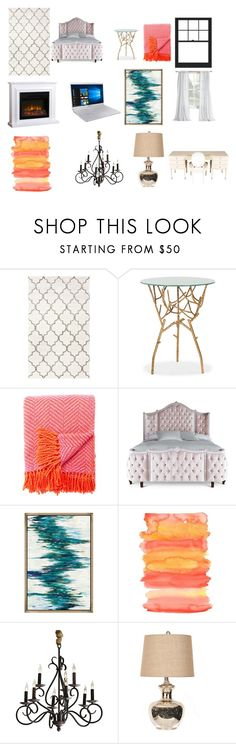 """""""Cute Black,White, and Pink rose gold room with other colors"""" by trischleralexis on Polyvore featuring interior, interiors, interior design, home, home decor, interior decorating, Safavieh, Kate Spade, Haute House and Samsung"""
