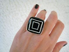 Black statement ring concentric squares black and white minimal abstract geometric stainless steel adjustable hand painted silver adjustable