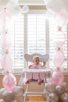 Odessa Turns 1 in a Winter ONE-derland! First Birthday Party, Winter Onederland, Pink, winter, white, 1st birthday idea, little girl                                                                                                                                                     More