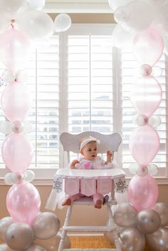 Emily Small Photography, Odessa Turns 1 in a Winter ONE-derland! First Birthday Party, Winter Onederland, Pink, winter, white, 1st birthday idea, little girl