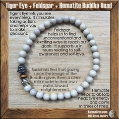 Tiger's Eye lets you see everything.  It stimulates taking action, and helps you to make decisions.  SELF LOVE: Feldspar + Tiger's Eye Yoga Mala Bracelet with Buddha