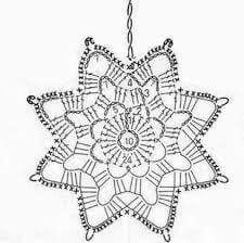 Tina's handicraft : 23 patterns for christmas ornament Crochet Snowflake Pattern, Crochet Stars, Crochet Motifs, Christmas Crochet Patterns, Crochet Snowflakes, Crochet Diagram, Thread Crochet, Crochet Doilies, Crochet Flowers
