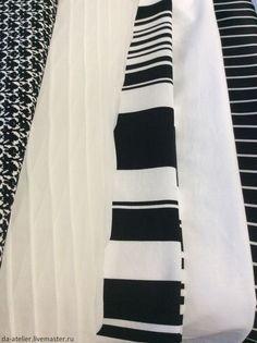 Купить Юбка из хлопка - черно-белый, юбка короткая, юбка, полоска, юбка со сборкой