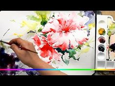 Акварель - легкий пейзаж полевые цветы у рощи (скоростная живопись) - YouTube