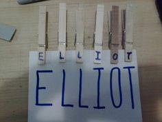 Learning name: match clothespin letter to lettrr on card