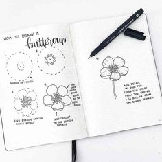 How to draw beautiful flower doodles in your bullet journal! These easy flower drawing tutorials will have you doodling flower patterns all over your bujo. Easy Flower Drawings, Flower Drawing Tutorials, Easy Drawings, Drawing Flowers, Bullet Journal Spread, Bullet Journal Layout, Bullet Journal Inspiration, Journal Ideas, Illustration Blume
