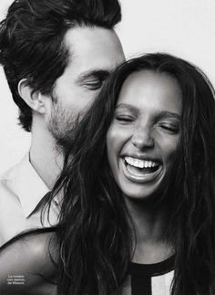 Jasmine Tookes wearing top by Amoi and boyfriend jeans by Levi's and Tobias Sorensen wearing jeans by Calvin Klein for Glamour Spain February 2016 by Jason Kim