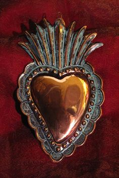 photo of Copper Milagro Heart, Mexico Metal Embossing, Heart Of Jesus, Heart Images, Religious Art, Religious Icons, Fire Heart, Arte Popular, Mexican Folk Art, Sacred Heart