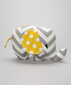 Gray Zigzag & Yellow Polka Dot Elephant Plush Toy