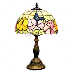 Tiffany Style Butterfly Stained Glass Table Lamp