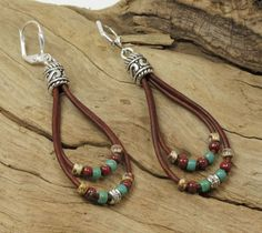LEATHER DANGLE EARRINGS-Picasso Seed Beads-Leather Earrings-Dangle Earrings-Loop Earrings-Boho Earrings-Lever Back Earwires by CinfulBeadCreations on Etsy