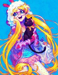 Sailor moon, Serena, Usagi and Luna - bunny Art Print