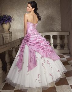 7d048d85911 In Stock New Taffeta And Tulle Handmade Flowers And Embroidery Blushing  Pink White Quinceanera Dresses