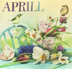 April flowers and brids by Marjolein Bastin, scanned by marquiselem