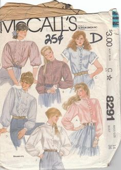 McCalls 8291 Size 14 Misses Self Face Yoke Blouse #sewingpattern for sale by OutoftheConex on etsy $3.50