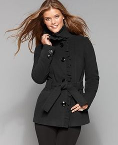 Steve Madden Coat, Ruffle Front Belted Trench Coat