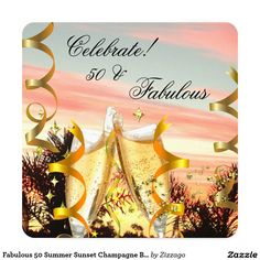 Fabulous 50 Summer Sunset Champagne Birthday Party 5.25x5.25 Square Paper Invitation Card