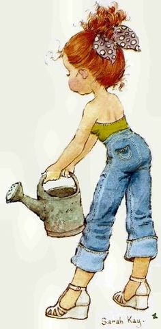 Sarah Kay: Tall girl with watering can Sarah Key, Holly Hobbie, Vintage Pictures, Cute Pictures, Illustrations Vintage, Baby Girl Cards, Anne Of Green Gables, Cute Art, Decoupage