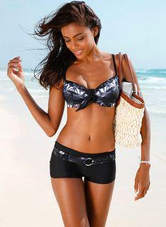 Women's Underwire Top Boy Short Bikini Set - SWIMHONEY.COM